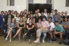 Members of the First Generation Initiative gather for a photo at their annual fall dinner.