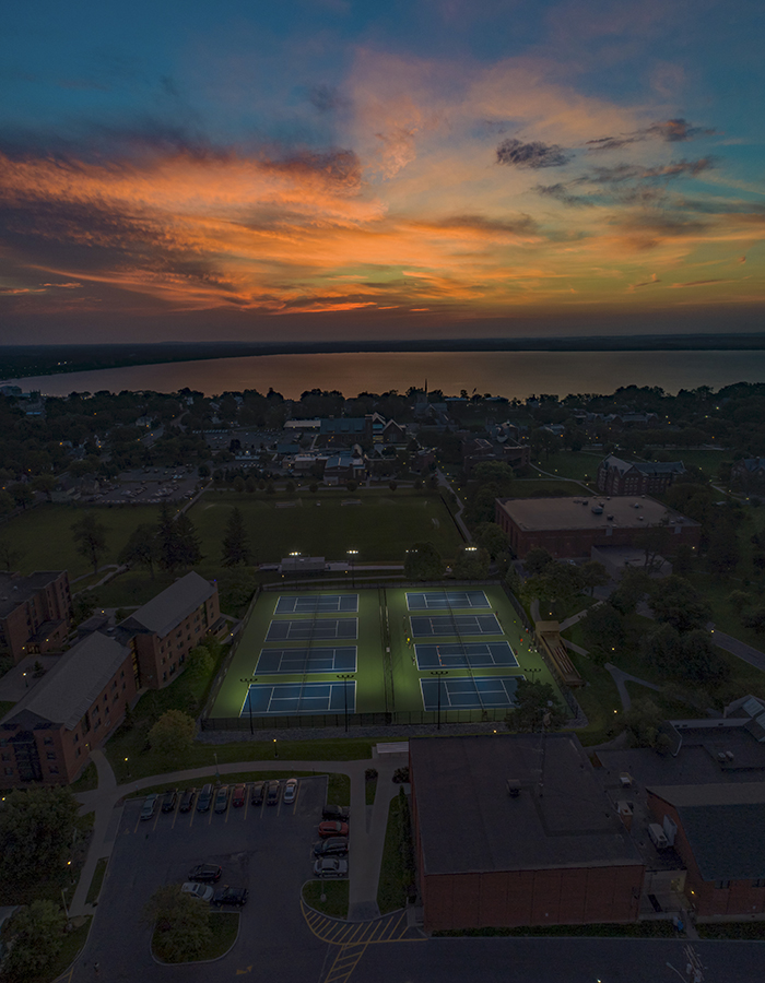 The sun rises over the Hobart and William Smith campus.