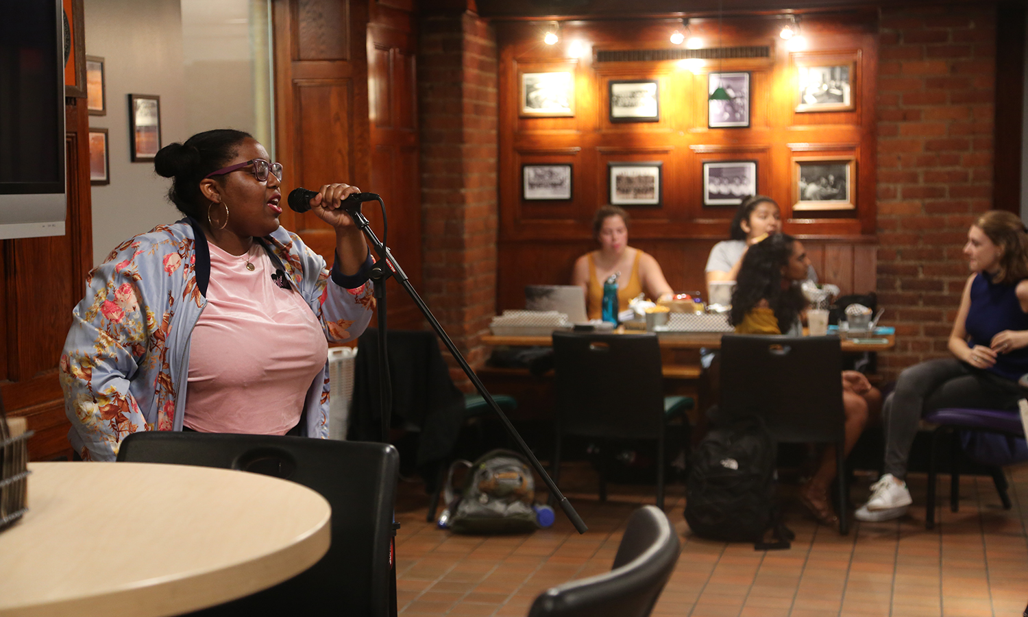 "Kaitlyn Brathwaite '22 performs during ""Open Mic"" in the Cellar Pub. The event was sponsored by the HWS campus activities board."