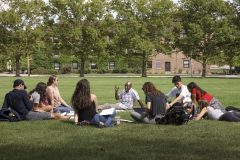 Associate Professor of French and Francophone Studies Kanate Dahouda brings his âIntroduction to Francophone Culturesâ class outside on Monday.
