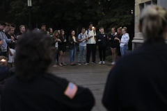 Students gather for a candlelight vigil in honor of the attacks on September 11, 2001. The event was organized by the HWS Young Americans for Freedom.