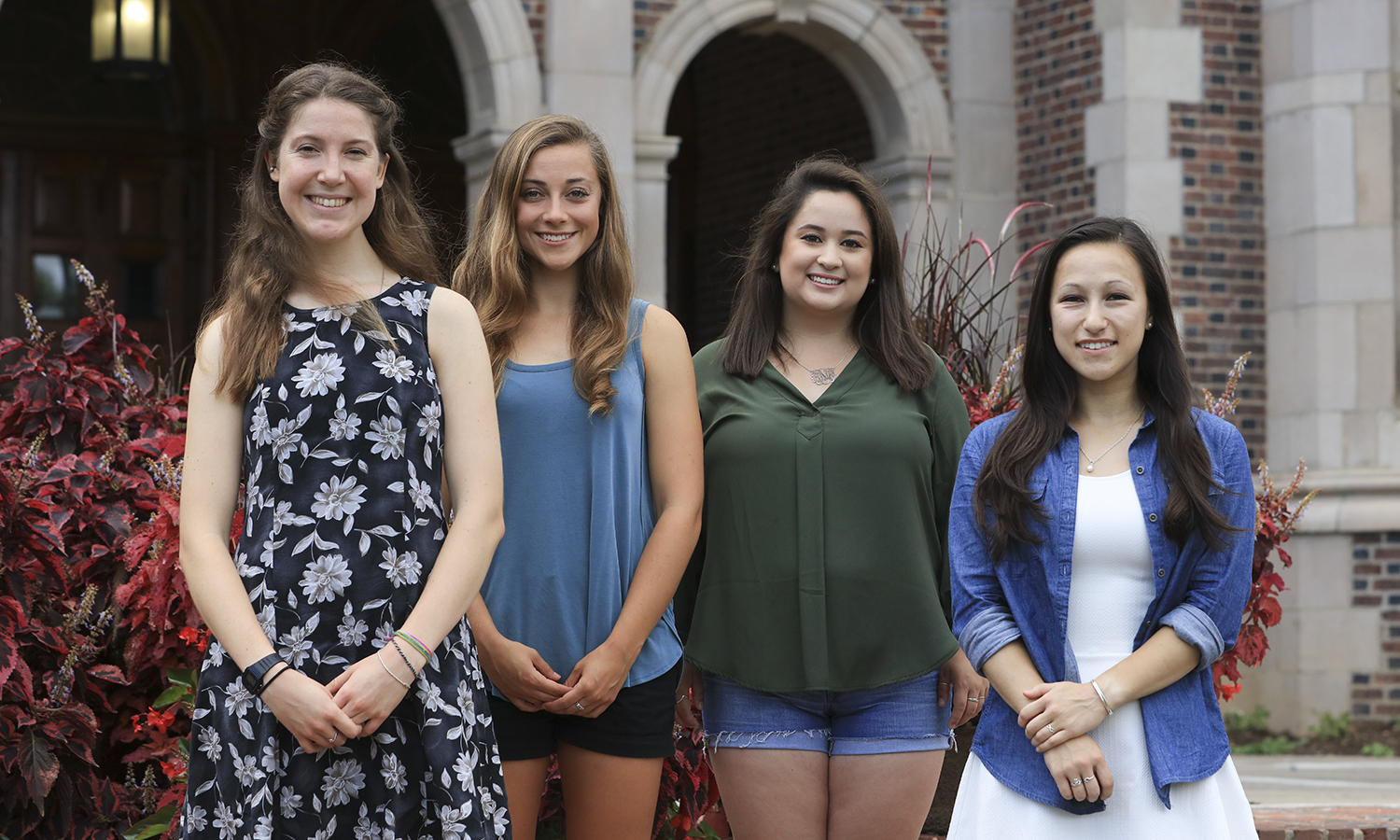 Psi Chi Officers fro 2016-2017. Juliana Heffern, Grace Marola, Bridget Nishimura and Katie Pinkes