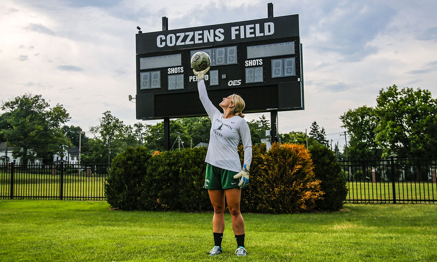 Ally Bryan '20, a Biology major and former varsity William Smith soccer player, stands on Cozzens Field. It is her favorite place on campus because of the amazing memories of her friends and teammates both in practice and in games. Ally is on campus this summer doing genetics research with Professor Cosentino.