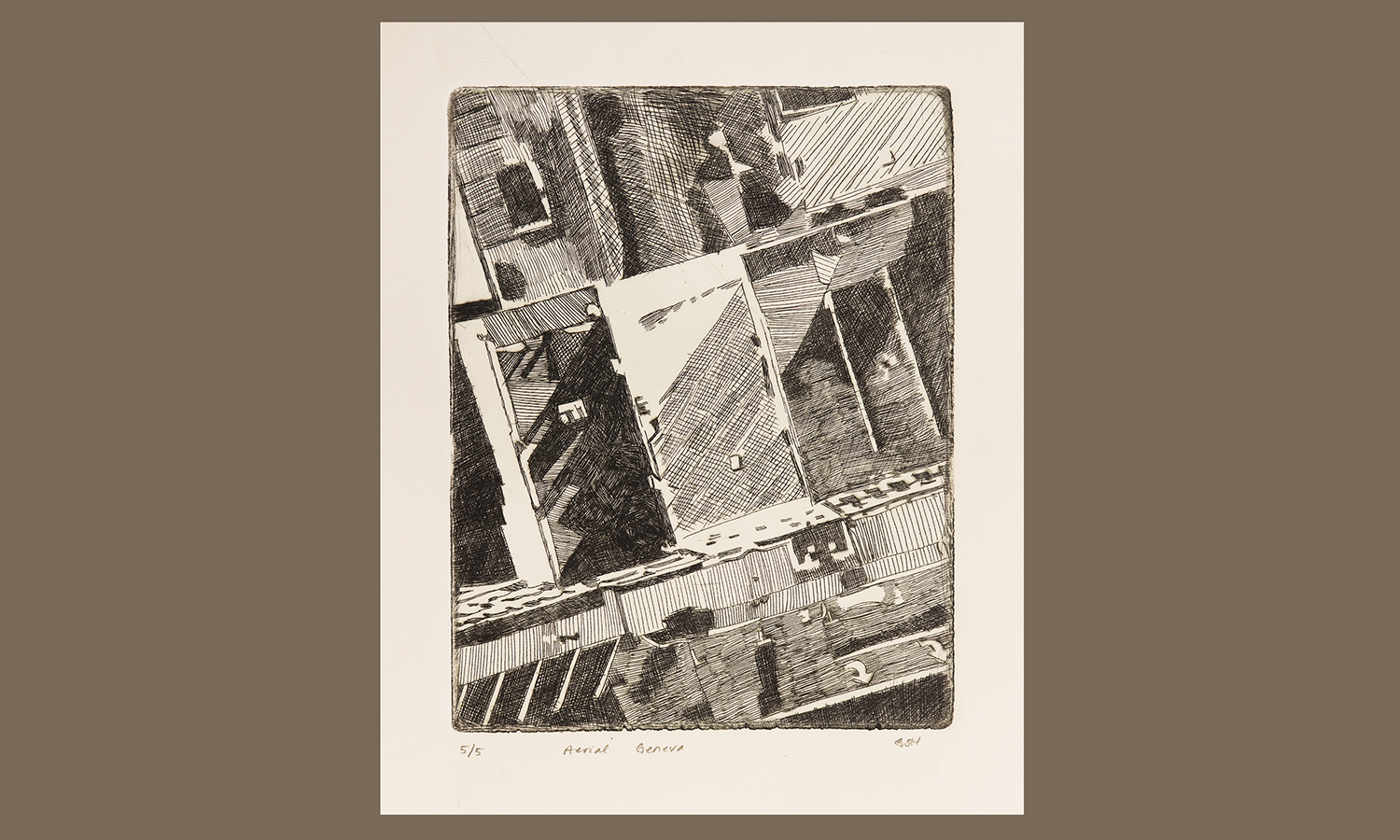 """Aerial Geneva intaglio print by Grace Stribling-Hough '20. This piece was created during HWS's ARTS 246 Intaglio Printing course taught this spring."""