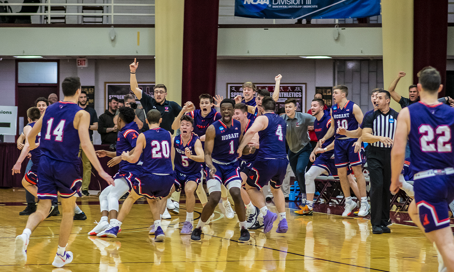 Hobart rallied from a 13-point deficit to defeat No. 17 Springfield 62-61 and advance to the third round of the NCAA Division III Men's Basketball Championship for the first time in program history. Dan Masino '21 hit a layup with two seconds remaining to give the Statesmen the lead and Tucker Lescoe '20 stole the Pride's inbounds pass to seal the victory.