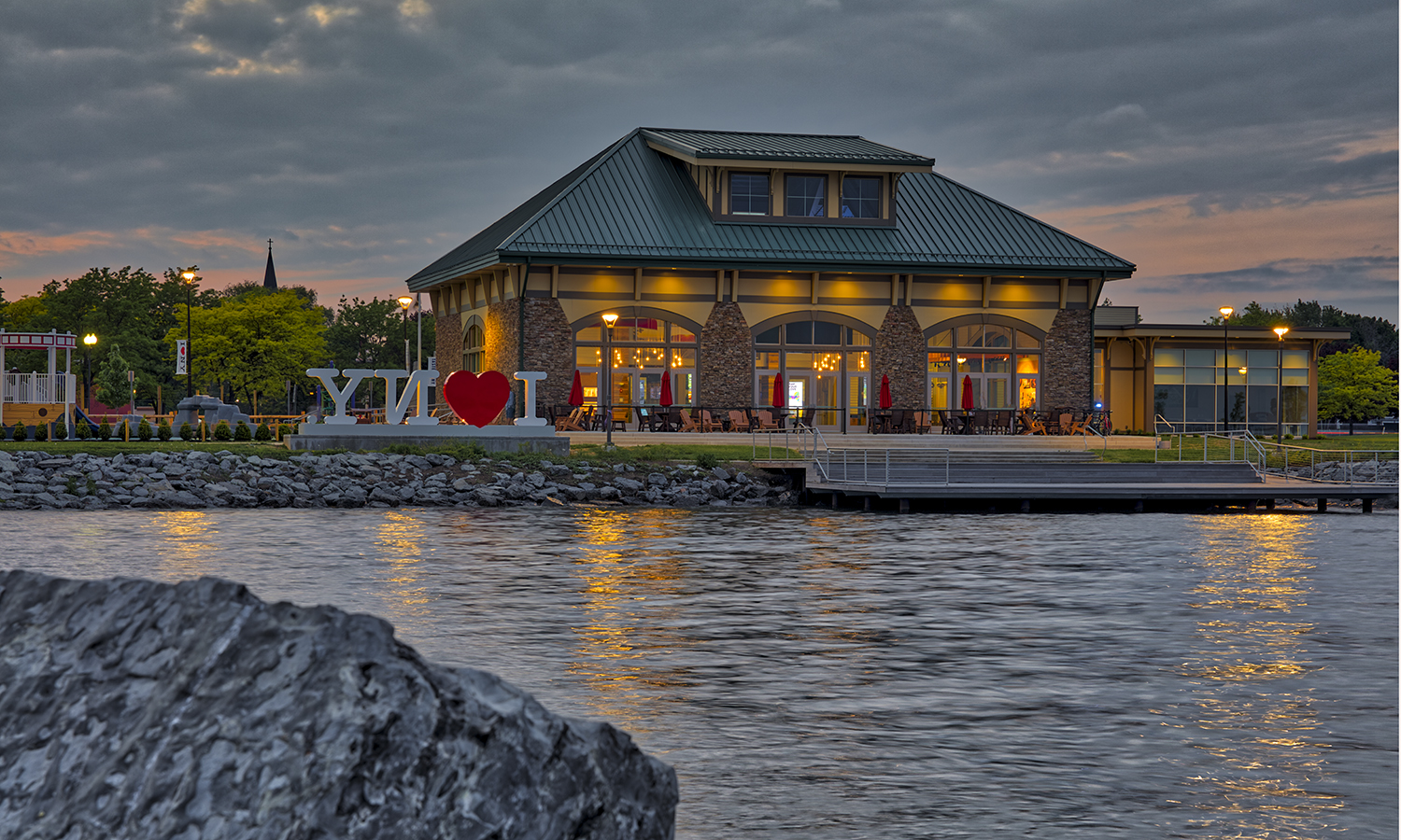 Dusk at the New York State Fingerlakes Welcome Center in Geneva., N.Y. In 2016, The City of Geneva received a $10 million investment through the Finger Lakes Regional Economic Development Council as part of a $100 million Downtown Revitalization Initiative launched by New York Governor Andrew M. Cuomo.