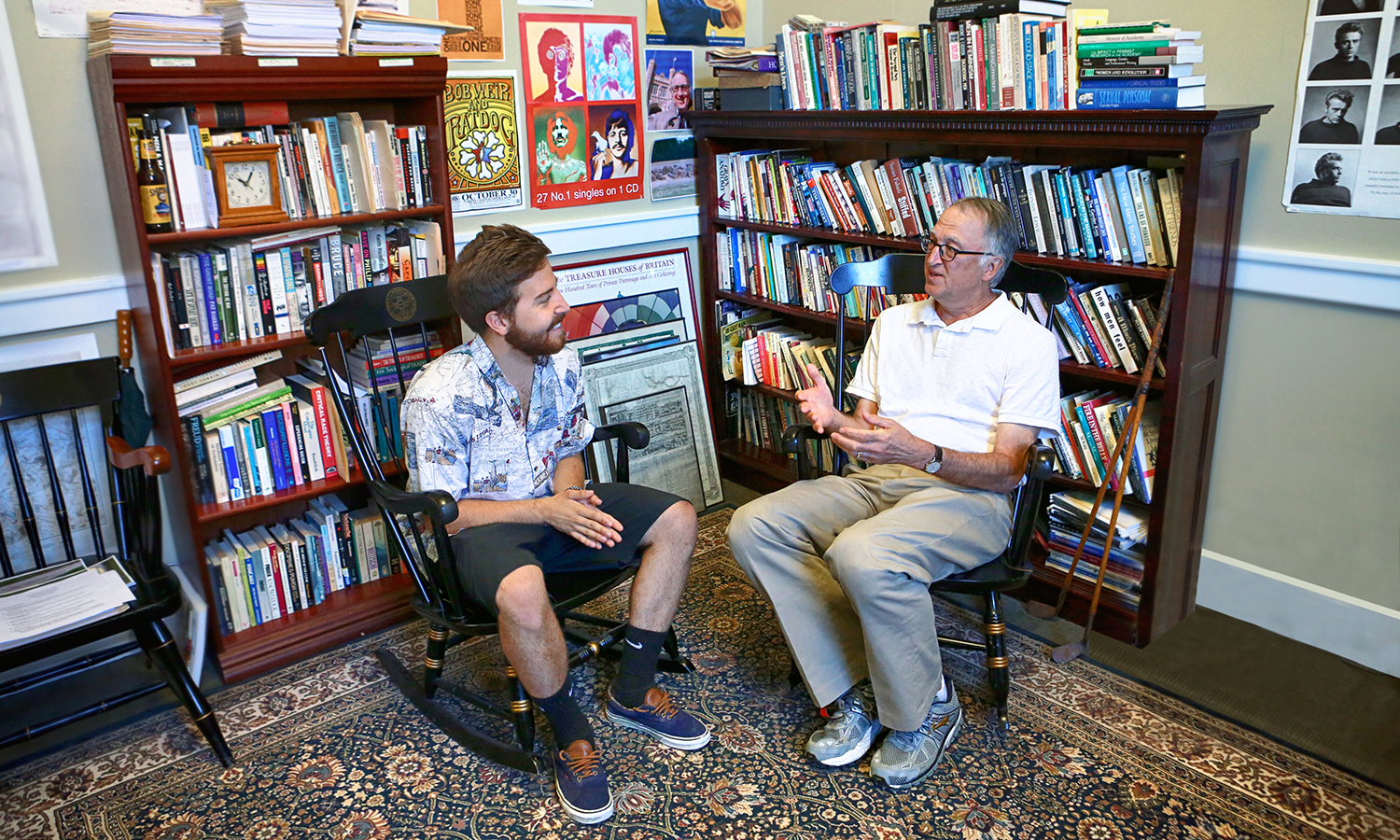 "Inside his Williams Hall office, Rocco L. ""Chip"" Capraro, Dean of Studies, holds an advising meeting with Peter Banks '18. This summer, Banks was the field coordinator for HEOP (Higher Education Opportunity Program)."