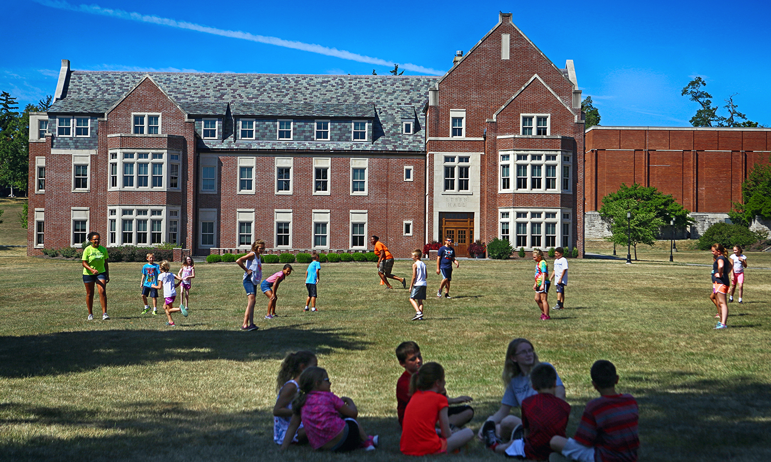 Participants in HWS's summer camp utilize the Quad, with Stern Hall on the western border. Stern Hall was named for principal donor Herbert J. Stern '58, LL.D. '74, P '03, and houses the departments of economics, political science, anthropology & sociology, environmental studies, and Asian languages and cultures