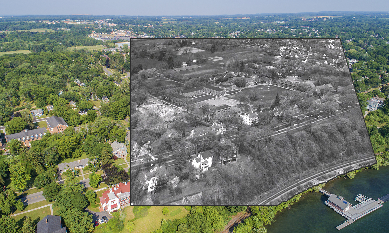 Before the construction of the Warren Hunting Smith Library and Stern Hall, the William Smith green was home to Boswell Field. Also pictured is the old baseball diamond where Scandling Center and Cozzens Field now stand.