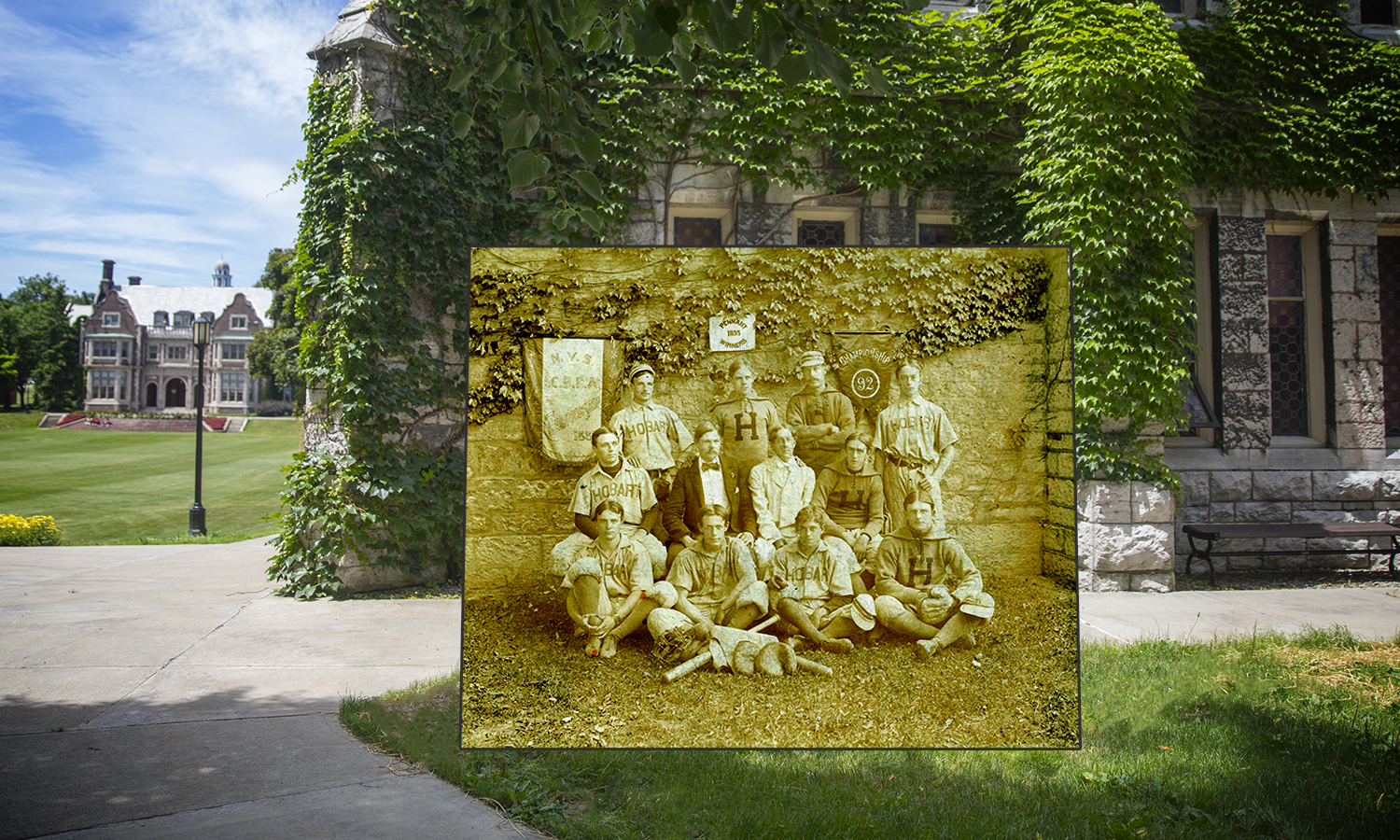 Pictured standing in front of Demarest Hall, the 1895 Hobart Baseball team.