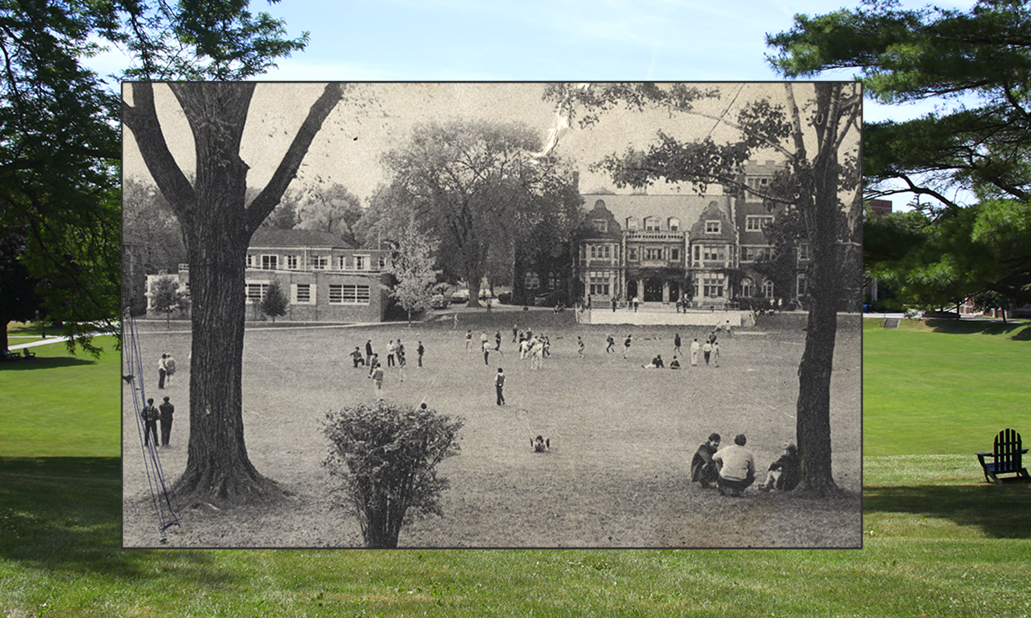 The Quad, whether in the 1960s or the 2010s, is always a popular place to relax on a sunny day.