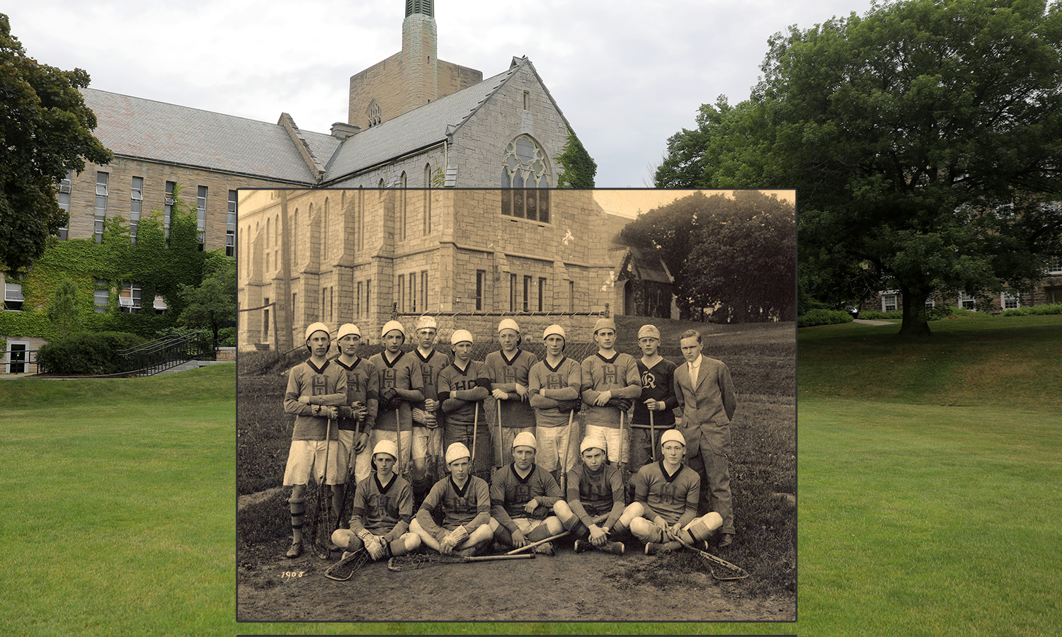 Pictured is the Hobart College 1908 Lacrosse team.