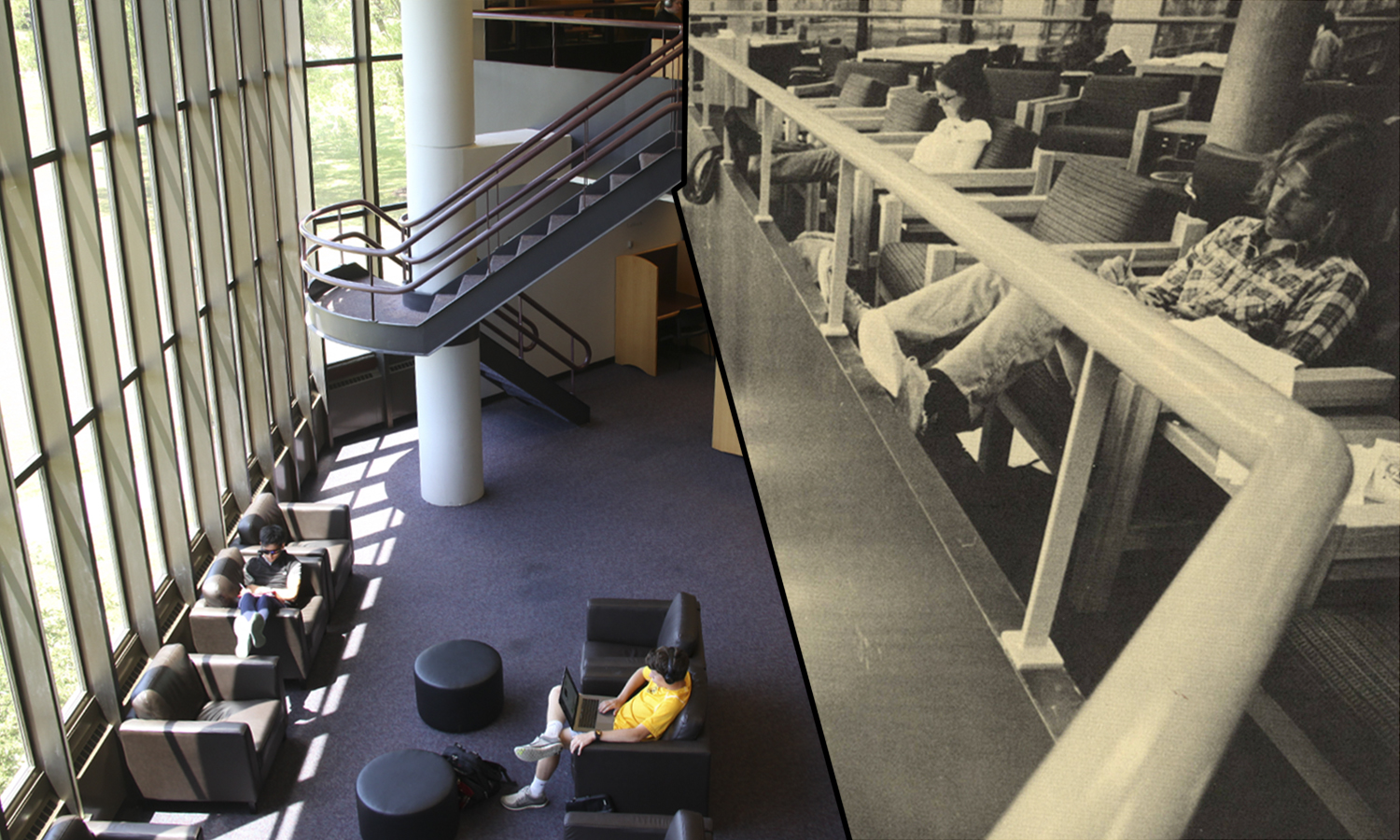 Despite having updated the tables and chiars, the Brackett Clark Reading Room in the Warren Hunting Smith Library remains a popular place to study in both 1976 and 2018.