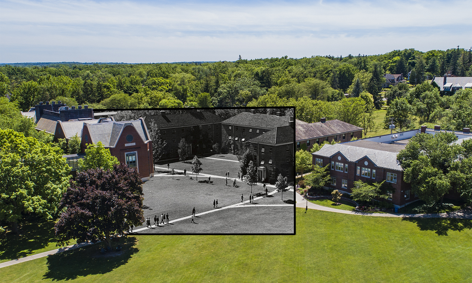 THe Mini-Quad, made up of Barlet, Durfee, and Hale, was built along with Gulick Hall in 1951. Though at the time of this photograph, 1967, Barlett, Durfee and Hale  were all-male residence halls, Hale Hall now has one floor of female housing.