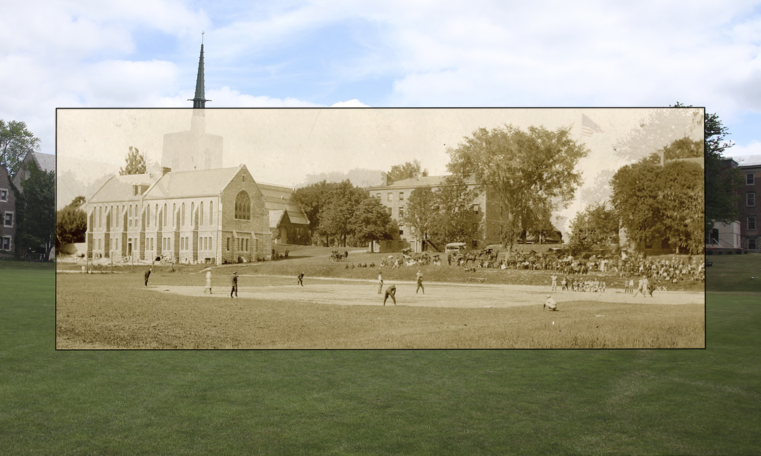 The Hobart baseball team plays on the Quad in 1895.