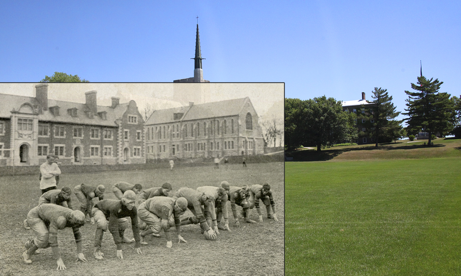 The Hobart football practiced on Quad in 1906. The team's current home, Boswell Field was built in 1974.