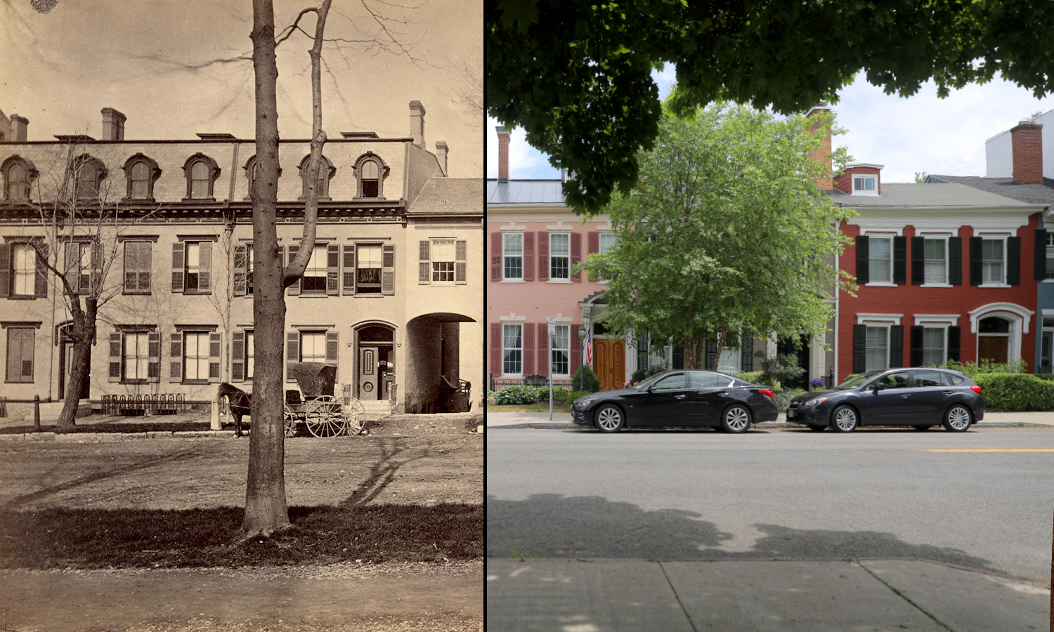 Save a new coat of paint, the row houses on S Main Street have not changed much since 1876.