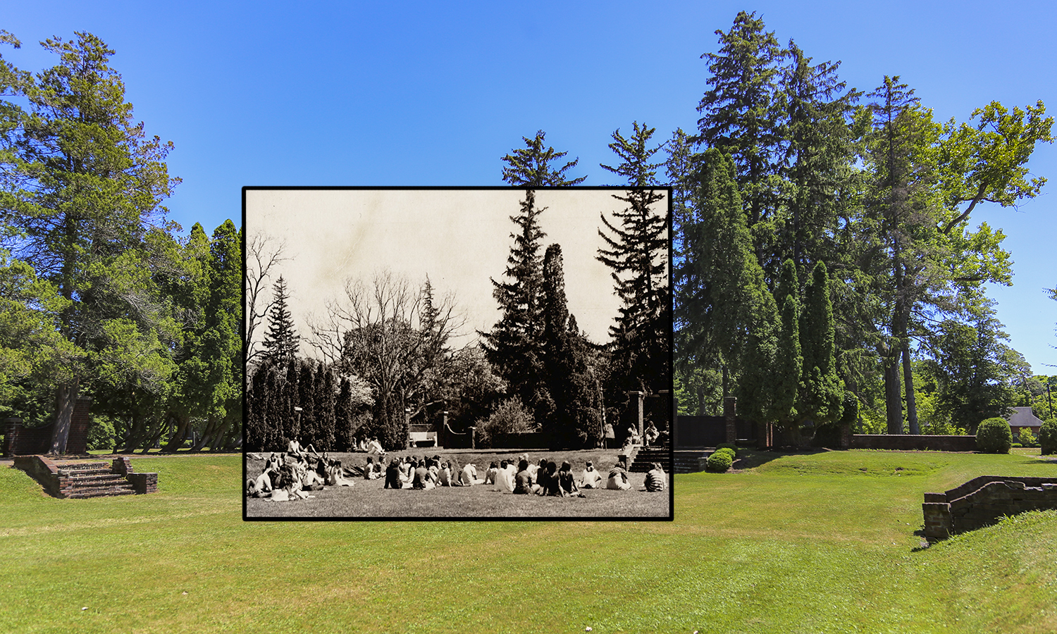 Though the trees have grown, not much else has changed in the Sunken Gardens in the arts campus since 1970.