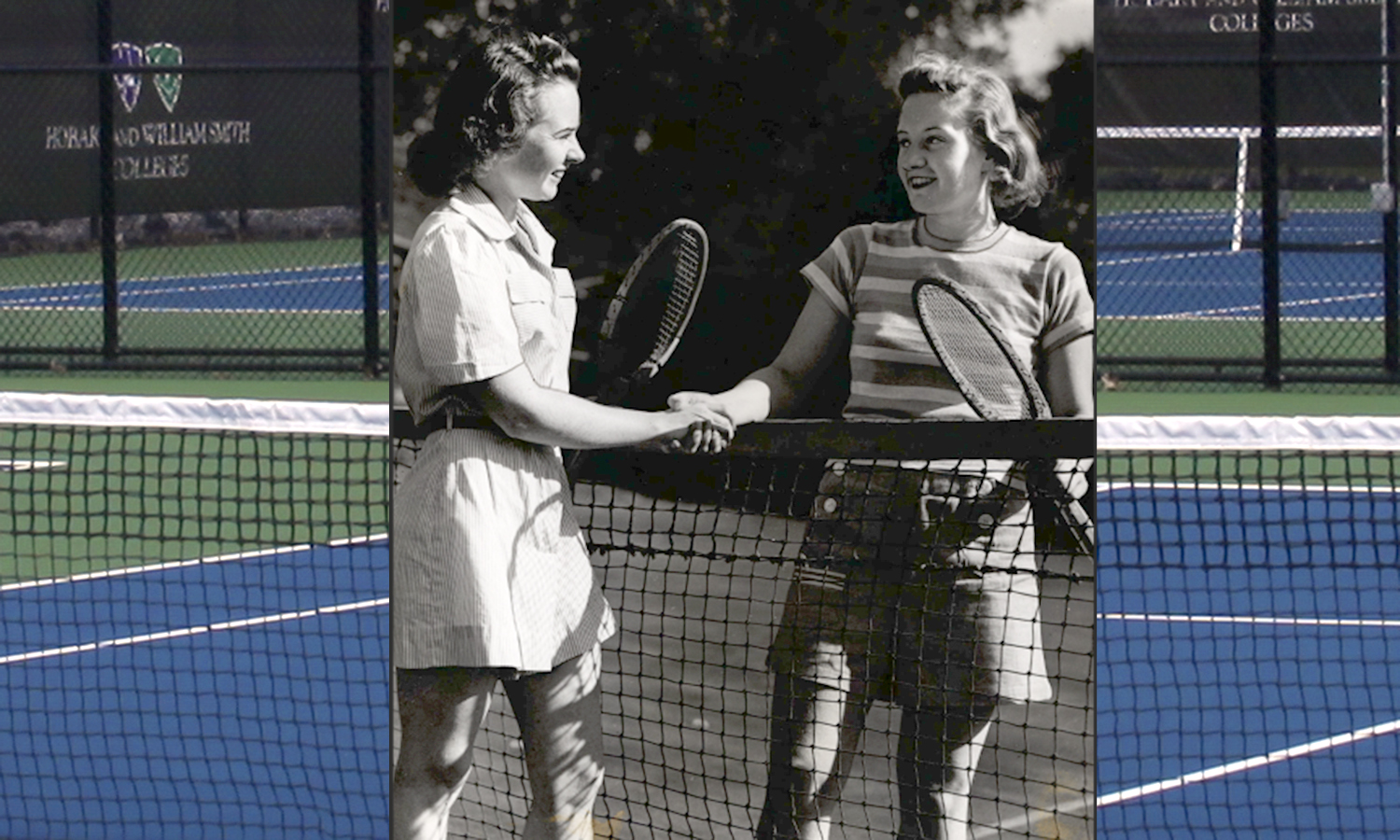 The HWS Tennis center was originally constructed in 1958 and newly renovated this year. Pictured above are two William Smith Tennis players from 1918 shaking hands on the court after a match.