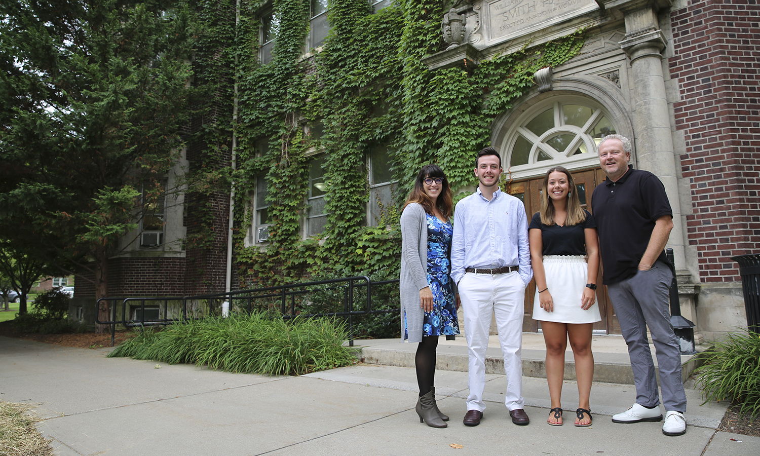 On a campus defined by community, new students can seek guidance from William Smith Assistant Dean Kelly Payne, Orientation Coordinators Tanner Arnold '20 and Miranda Smith '18, MAT '19, and Hobart Interim Assistant Dean Joseph Mink, pictured here in front of Smith Hall.