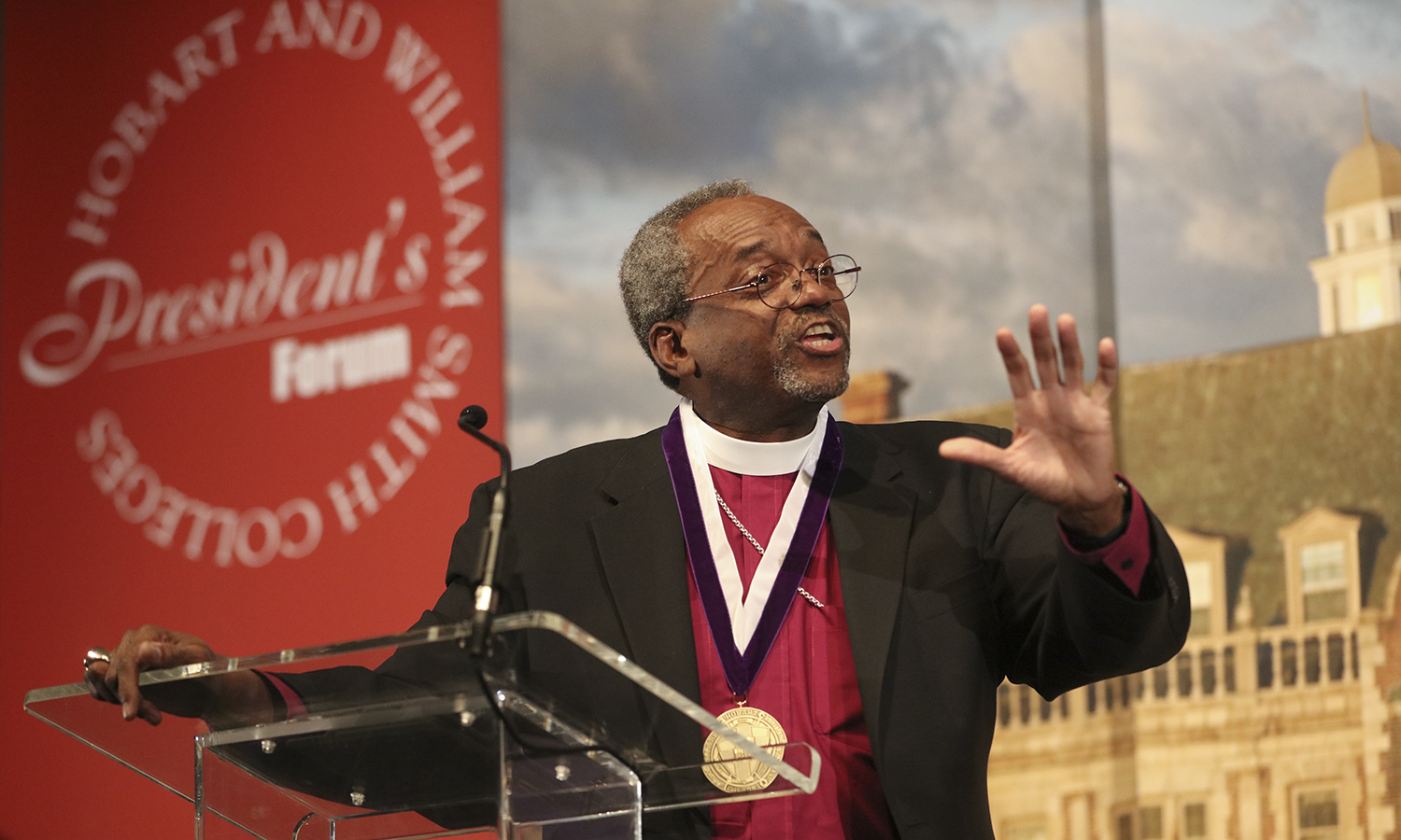 The Most Rev. Michael B. Curry '75, known for delivering the address at Prince Harry and Meghan Markle's wedding in May, receives the Hobart Medal of Excellence during a visit to campus. The annual honors, which complement the William Smith Alumnae Achievement Awards, bring notable alums to campus each year.