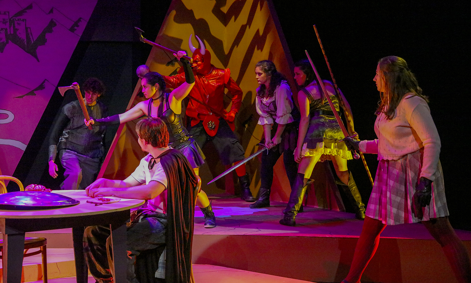 Students perform the play <i>She Kills Monsters</i> in McDonald Theatre. HWS Theatre hosts three productions each year and all community members are encouraged to audition.