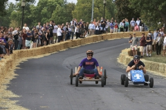 Students race down the east side of William Smith Hill during Fall Nationals, the annual go-cart race hosted during Homecoming and Family Weekend. One of the Colleges most cherished traditions, students compete in teams and build their own go-carts.