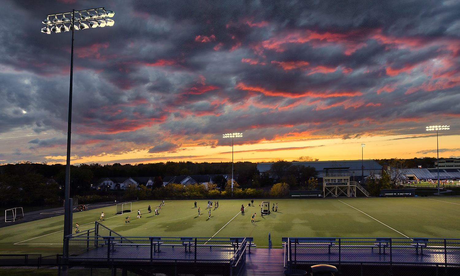 William Smith field hockey practices at sunset on McCooey Field.