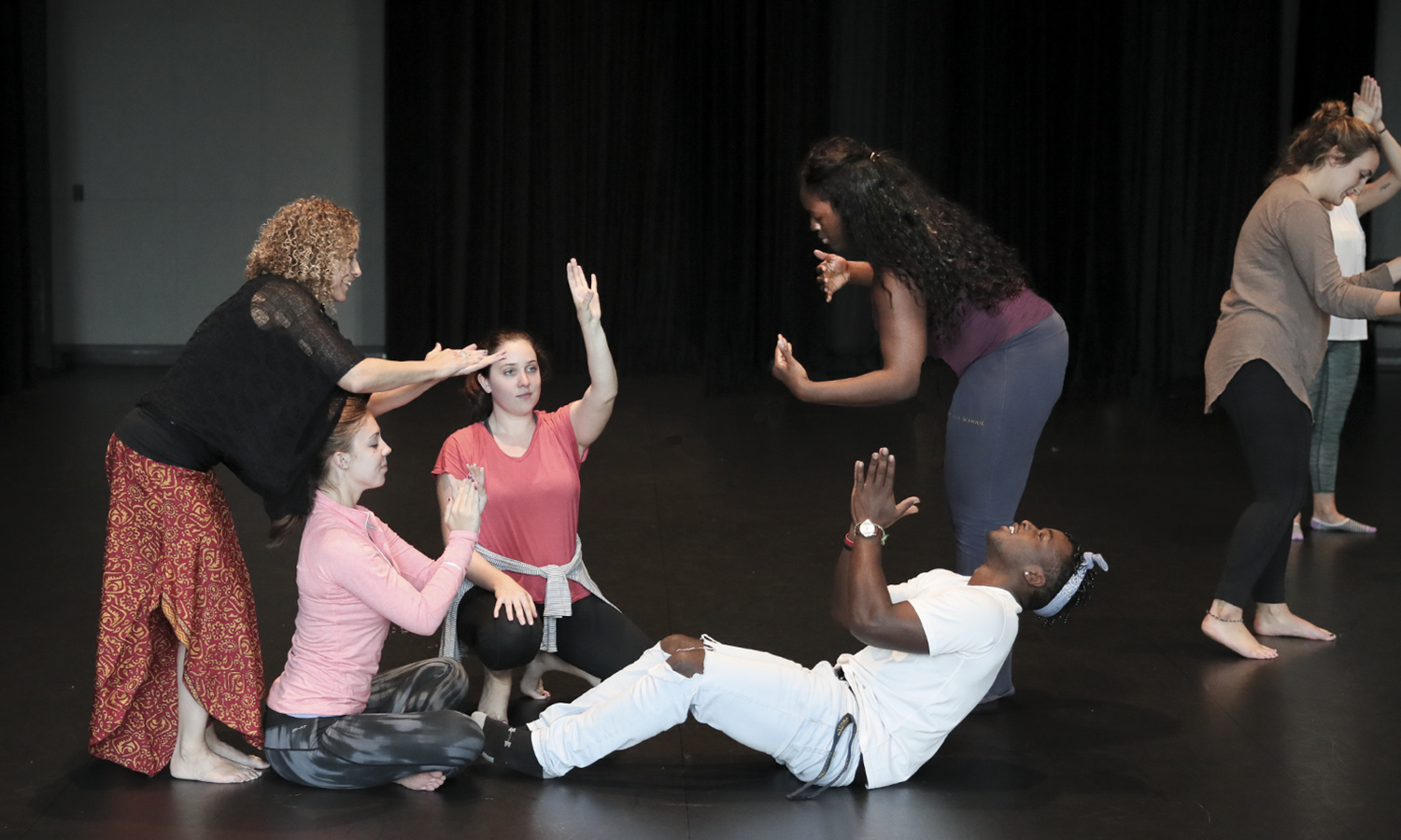 "Professor of Dance Donna Davenport works with students in the course, ""Composing Works: Music & Dance Composition,"" co-taught by Davenport and Associate Professor of Music Mark Olivieri."