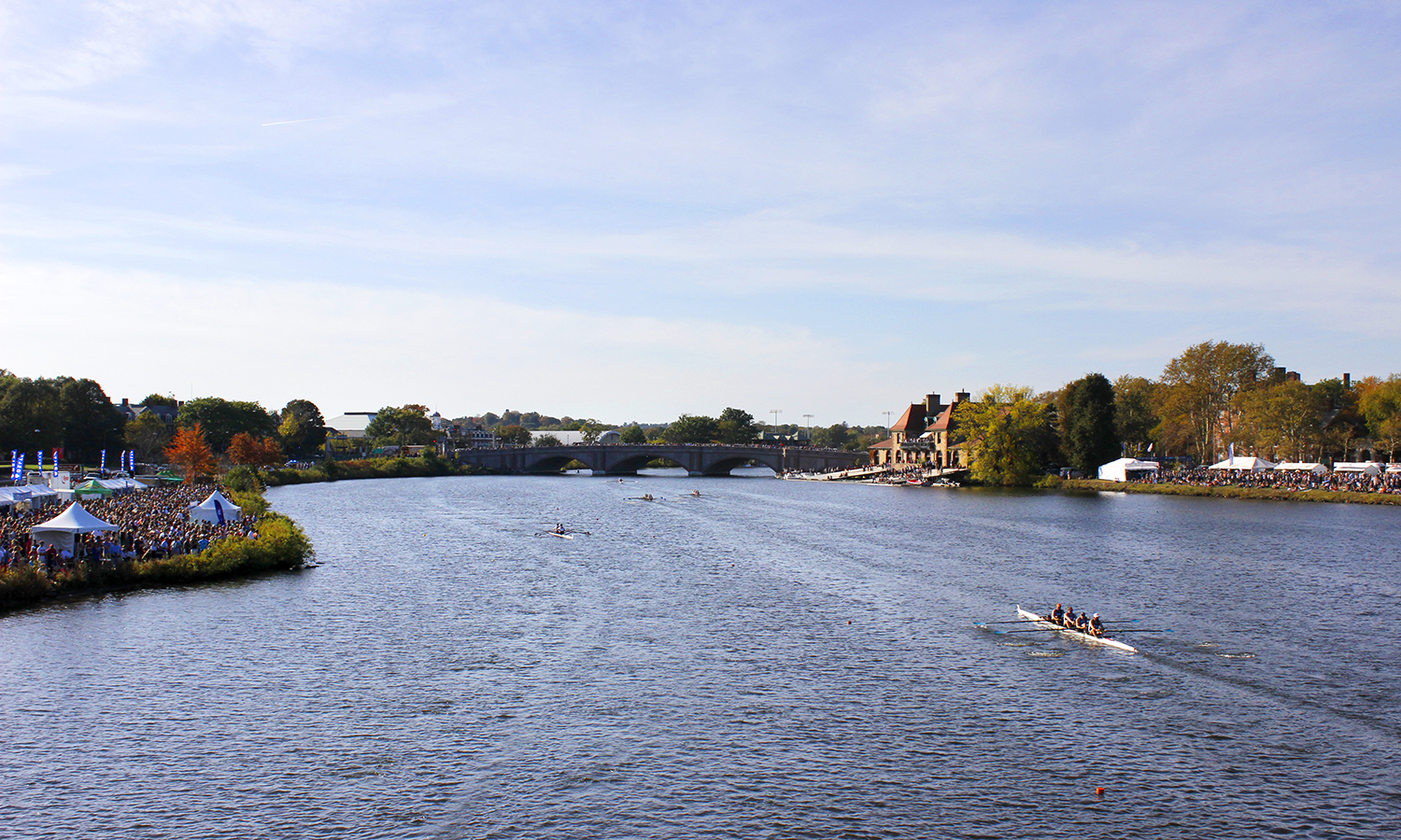 A view of the Head of the Charles Regatta from above.  The Hobart College varsity eight was named the Liberty League Men's Rowing Boat of the Week following a 12th place finish in the men's collegiate eights event on Sunday.