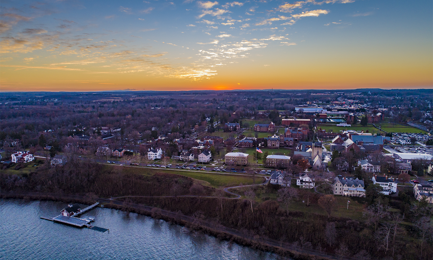Campus Sunset Aerial