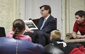 President Gearan reads the book Otis by Lauren Long for read for the record