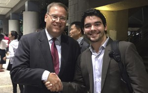 Chris Doak '18 shakes hands with Kurt W. Tong, Consul General of the United States of America to Hong Kong and Macau, following an assembly on U.S. and Hong Kong relations last week. Doak is currently studying abroad in Hong Kong at Lingnan University.