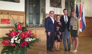 Sarah Walters '19, Ryan Montbleau '19, Elleanor Smith '18 and Soren Anders-Macleod '18 gather for a photo in Nuremberg City Hall during a reception honoring the 70th anniversary of the international war crimes trial proceedings.