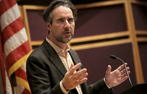 John Della Volpe, director of polling at Harvard University's Institute of Politics and founder and CEO of SocialSphere, Inc., speaks about the election and the role and influence of polling during the President's Forum in the Geneva Room on Tuesday.