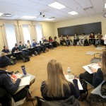 """Regional Director for the United Way Kari Buch speaks to students in """"Sr Seminar: Research Practicum"""" with Professor of Anthropology and Sociology Jack Harris."""