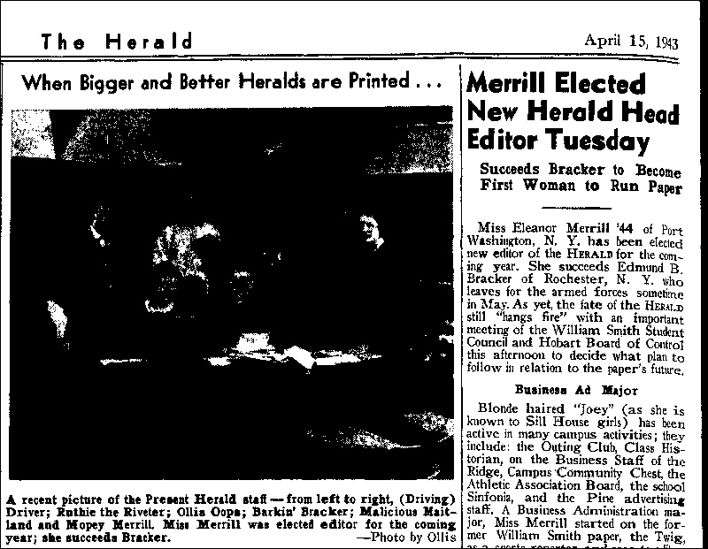 First Woman Editor of <em>The Herald</em>