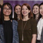 Caitlin Lasher '18, Nelle Crossan '13, Swellar Zhou '19, Sophie Alphas '17, Kelly Biggs '11, Teya Lucyshyn '19, Linqi Wang '17 and Ana Mazariegos '19 gather for a group photo following the Public Leadership Education Network Award Ceremony in Washington, D.C.