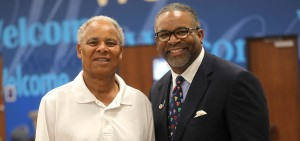 Former Hobart Basketball Coach Ed Wright and President Gregory J. Vincent '83 pose for a photo at the Geneva Boys and Girls Club.