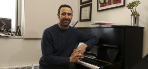 Mark Olivieri Assistant Professor of Music office in Gearan Center for Performing Arts
