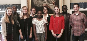 "4/13/2017 -  French and Francophone Studies capstone portfolio. It was in the Seneca room. The students (all seniors) are from left to right:  Diana Weston, Chalwyn Caulker, August Savarese, Emily Friend, Maggie Nalborne, Laurie Vanbenschoten, Nathan Cameron  5/2/2017 - Awards of ""The Certificate of Excellence"" in French and Francophone Studies, as well the induction in the National French Honor Society, for Laurie Vanbenschoten and Karoline Loretan, shown with professor Court Wells. The ceremony took place in my office because Laurie and Karoline could not attend the ceremony with the rest of the department (see next picture).  5/2/2017 - Awards of ""The Certificate of Excellence"" in French and Francophone Studies, as well the induction in the National French Honor Society. The students (all seniors) and faculty are: Diana Weston, Prof. Kanate Dahouda, Emily Friend, prof. Eric Lynch, Chalwyn Caulker, prof./dean Catherine Gallouët, Maggie Nalbone, Ato Bentsi-Enchill, and Nathan Cameron. The ceremony took place in Delancey. I hope you can use one or all these pictures."