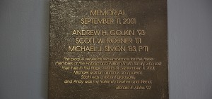 Plaque in Abbe Center for three lost in the 9/11 tragedy.