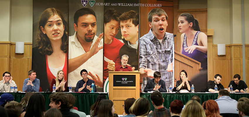 Featuring 16 teams from 10 countries, Professor of Philosophy Eric Barnes Eric Barnes opens the final round of the annual Hobart and William Smith Round Robin debate tournament on Saturday.