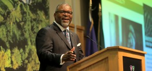 """President Gregory J. Vincent discusses the power of a liberal arts education during his """"State of the Colleges"""" address in the Vandervort Room."""