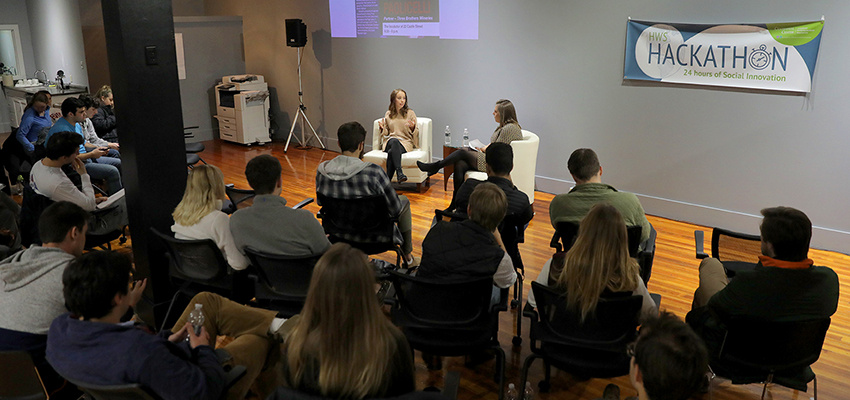 "Moderated by Lizzy Weingast '18, Partner at Three Brothers Wineries Erica Paolicelli speaks to students about navigating the successes and failures of entrepreneurship during the ""5 Questions Entrepreneurial Conversation Series"" in the HWS Incubator located at 22 Castle Street."