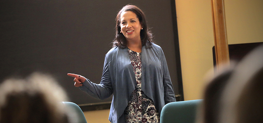 Kim Wilson Vincent talks to students about her professional experience as a lawyer during a Public Leadership Education Network (PLEN) meeting. PLEN is a national organization that encourages and prepares young women to become political leaders.