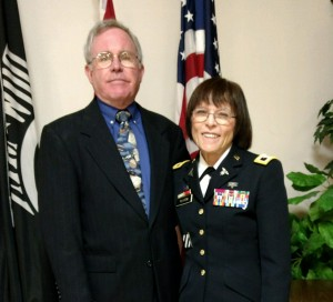 Ret. Col. Katherine T. Platoni '74 with her husband, Ret. U.S. Air Force Lt. Col. John Hutchinson.