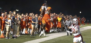 Brandon Shed '18 makes a leaping catch during Hobart's 56-30 victory over Shenandoah University on Saturday. A record-breaking wide receiver for the Statesmen, Shed recently accepted an invitation to play in the National Football League Players Association Collegiate Bowl in Pasadena, Calif., on Jan. 20, 2018. He's the first Statesmen to be invited to the NFLPA Collegiate Bowl, which is in its seventh year.