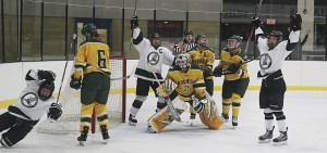 Members of the William Smith Ice Hockey Team celebrate after scoring a goal against Siena College.