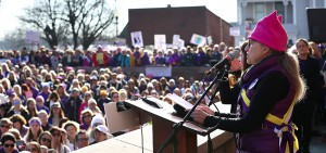 "Professor of Women's Studies and National Women's Hall of Fame board member Betty Bayer speaks at the ""Women's March"" in Seneca Falls on Saturday."